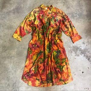 URU 1970's Hand Dyed Sheer Boxy Maxi Coverup Dress